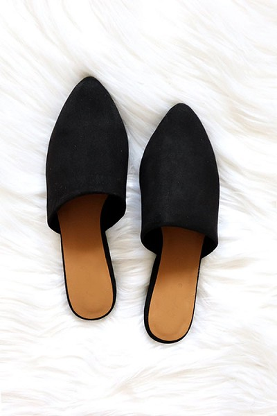 Faux Suede Pointy Toe Closed Toe Flat Mules Sandals Slides-Black