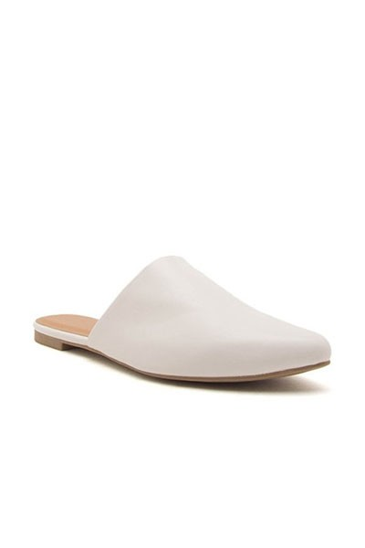 Pointy Toe Closed Toe Flat Mules Sandals Slides-White