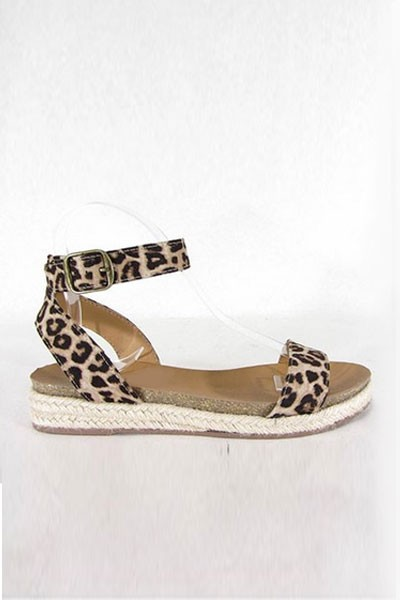 Animal Print Espadrille Flat Sandals with Ankle Strap-Leopard Cheetah Print