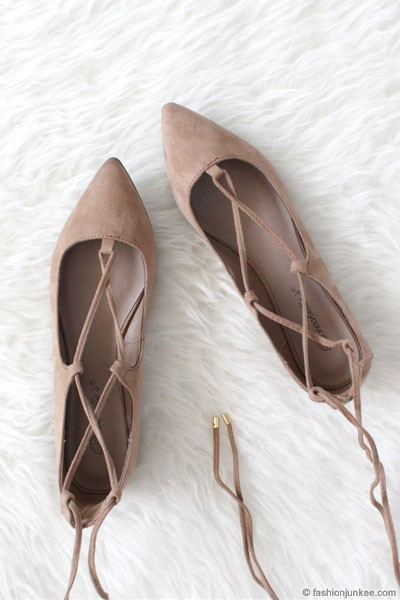 Faux Suede Pointy Toe Strappy Ballet Ballerina Lace Up Flats-Nude Beige