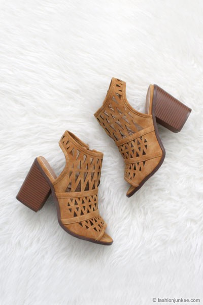 Triangle Cut Out Open Peep Toe Booties-Camel Brown Tan