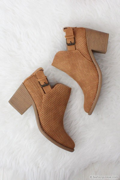 Boho Indie Faux Suede Textured Perforated Ankle Booties with Low Heel-Camel Brown