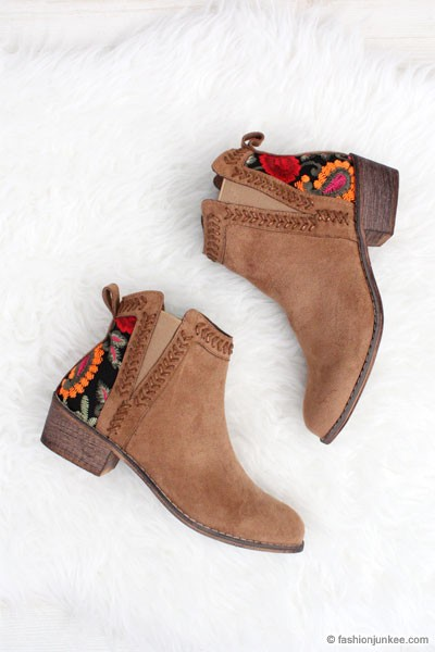 Faux Suede Floral Embroidered Booties with Low Heel-Camel Brown - NOW IN STOCK!