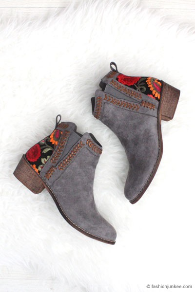 FLASH DEAL! ENDS SOON - Faux Suede Floral Embroidered Booties with Low Heel-Grey