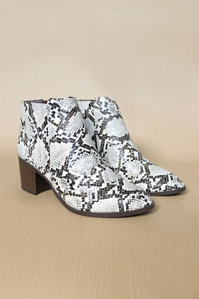 Slip On Almond Toe Stitched Side Booties-Python Snake Print