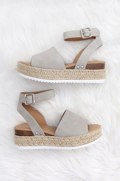 Espadrille Low Platform Flats Sandals with Ankle Strap-Grey