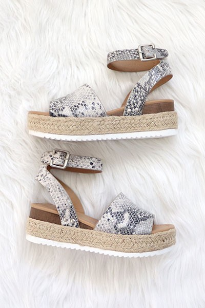 Espadrille Low Platform Flats Sandals with Ankle Strap-Snake Skin Print