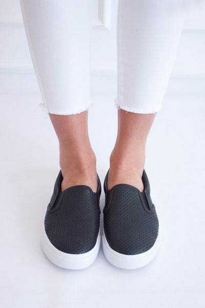 Perforated Casual Slip On Flat Shoes Sneakers-Black