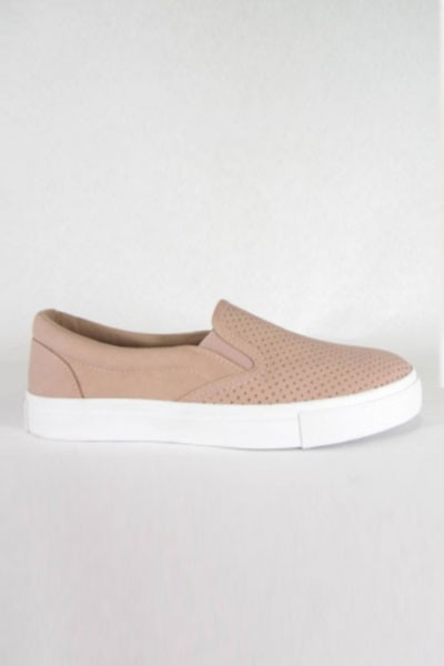 Perforated Casual Slip On Flat Shoes Sneakers-Blush Pink