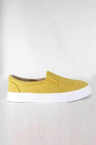 Faux Suede Perforated Casual Slip On Flat Shoes Sneakers-Yellow