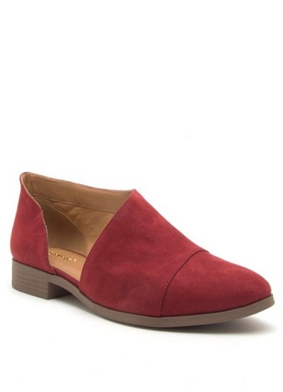 FLASH DEAL! ENDS SOON - Closed Toe Faux Suede Side Cutout Flats-Red
