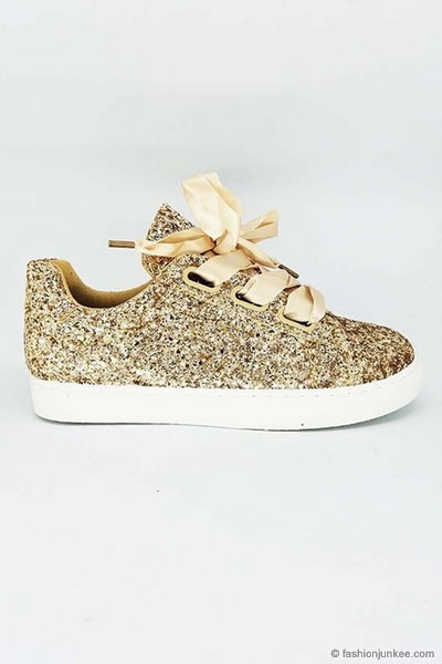 BLACK FRIDAY FLASH DEAL! ENDS SOON - Satin Ribbon Bow Lace Up Glitter Sneakers-Gold - (LIMITED TIME SALE!)