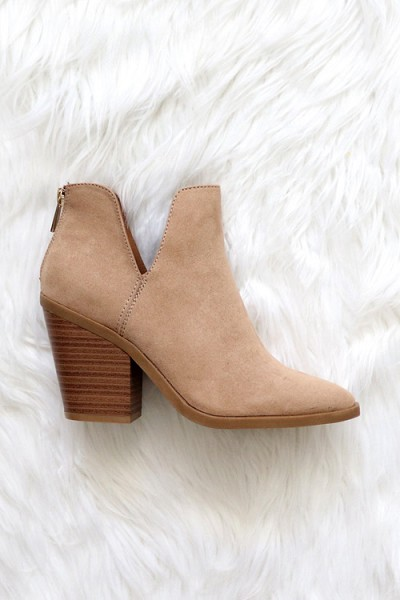 Faux Suede Pointy Toe Side Cutout Booties-Taupe Camel