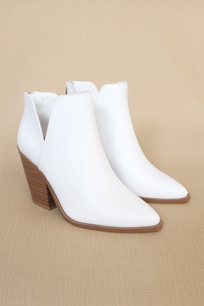 Faux Leather Pointy Toe Side Cutout Booties-White