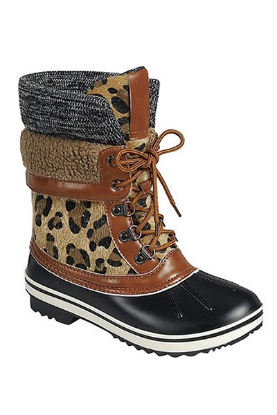 Animal Print Sherpa Fur Lace Up Rubber Duck Boots-Leopard Print
