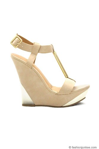 Faux Suede Wedge Platform Shoes with Gold Accent-Nude