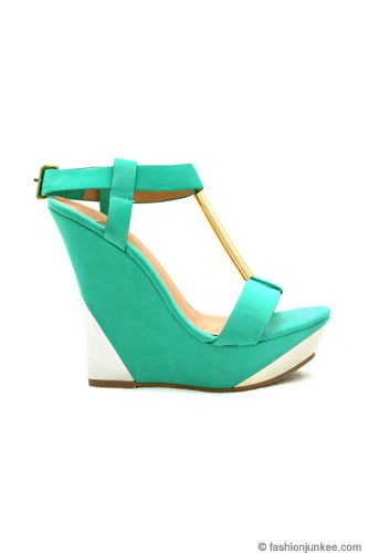 Faux Suede Wedge Platform Shoes with Gold Accent-Mint