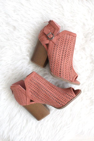 FLASH DEAL: Faux Suede Open Peep Toe Ankle Booties with Mini Cutout Design-Blush Pink