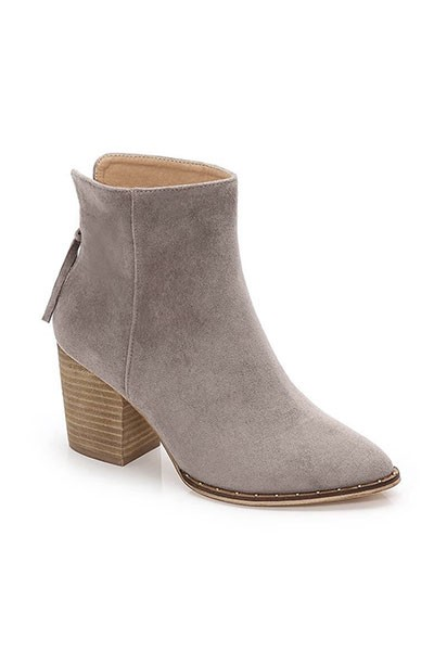 Faux Suede Block Heel Closed Toe Booties with Studded Sole-Grey