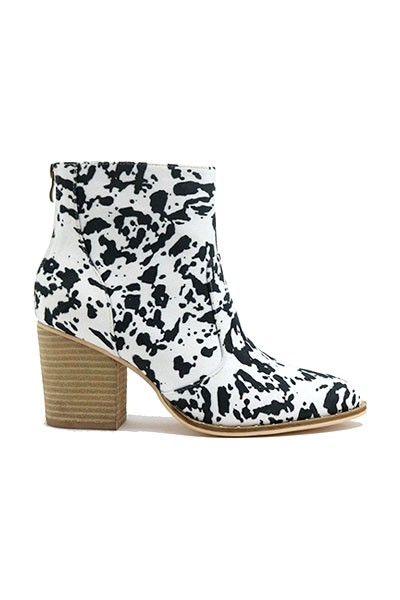 Faux Suede Closed Toe Ankle Booties with Block Heel and Studded Sole-Cow Print