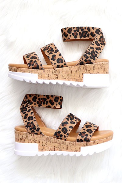 Two Strap Cork Platform Sandals with Ankle Strap-Leopard Print