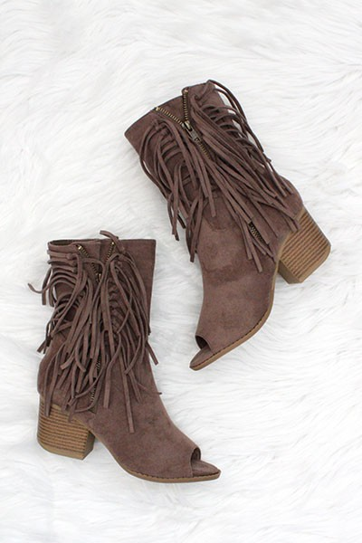 Bohemian Open Toe Zipper Fringe Faux Suede High Ankle Booties-Taupe