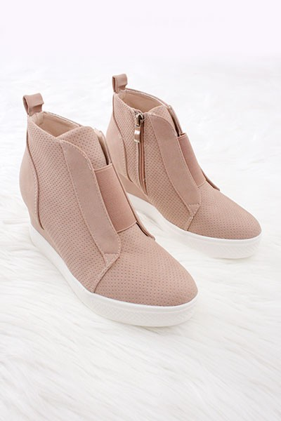 Perforated Wedge Sneakers-Blush Pink