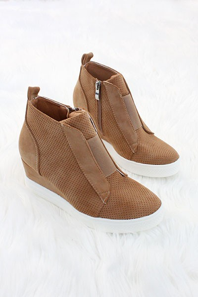 Perforated Wedge Sneakers-Camel Brown