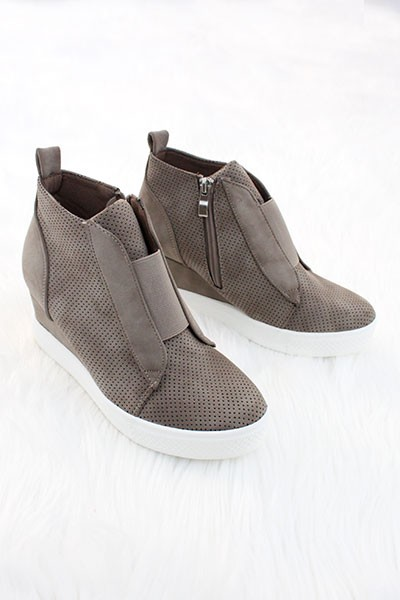 FLASH DEAL: Perforated Wedge Sneakers-Taupe