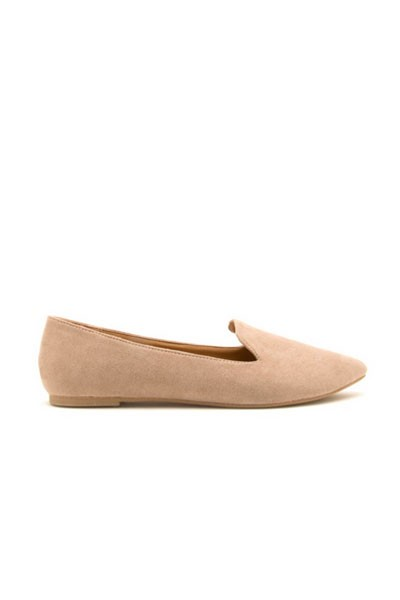 Faux Suede Classic Pointy Toe Closed Toe Loafer Flats Shoes-Taupe