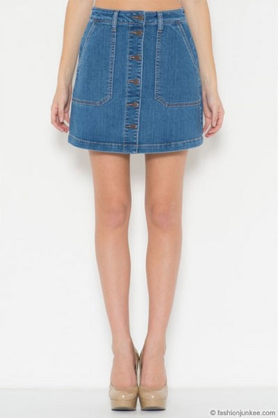 :As Seen In PEOPLE STYLEWATCH Magazine: Denim A-Line Button Down Mini Skirt-Blue (LIMITED TIME 50% OFF!)