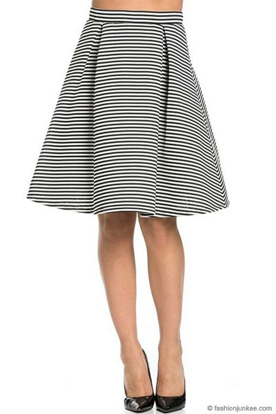 :As Seen In PEOPLE STYLEWATCH Magazine: Striped Flared Midi Skirt-Black & White