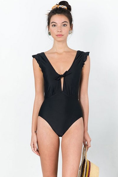 Low Cut One Piece V-Neck Swimsuit with Ruffle Sleeves-Black