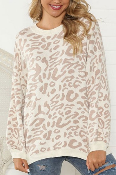 Thick Boxy Oversized Leopard Print Sweater Top-Taupe