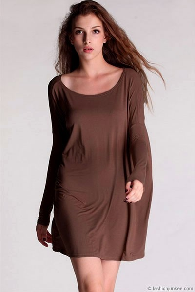 Piko Bamboo Long Sleeve Loose Oversized Off the Shoulder Top-Brown