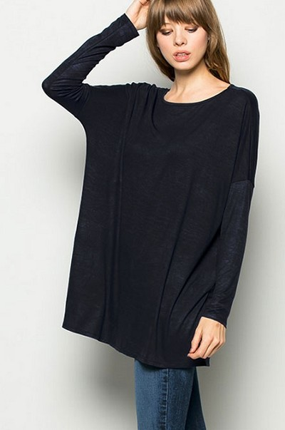 Long Sleeve Loose Oversized Off the Shoulder Top-Black