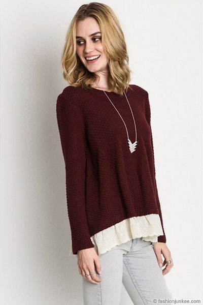 FLASH SALE: Long Sleeve Textured Sweater Top with Lace Trim Bottom-Burgundy Dark Red