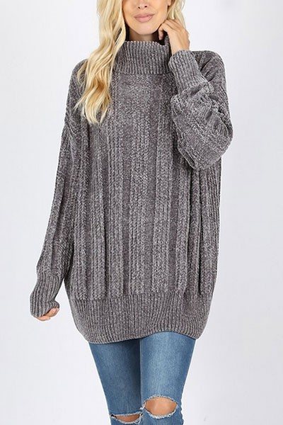 Soft Oversized Chenille Cable Knit Turtleneck Sweater-Grey