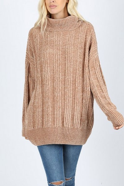 Soft Oversized Chenille Cable Knit Turtleneck Sweater-Mocha Brown