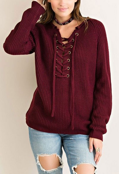 Thick Long Sleeve Chunky Lace Up Sweater Top-Burgundy Red