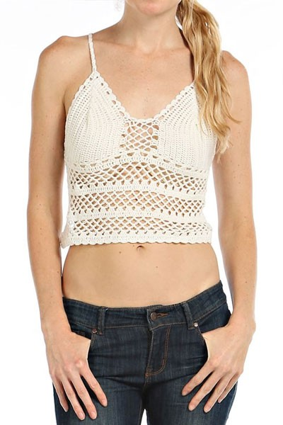 Boho Cropped Knit Crochet Tank Top Bralette-Off White