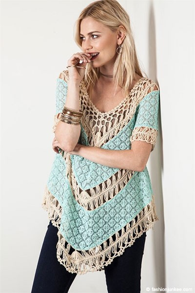 FLASH DEAL: Lace Boho V-Neck Short Sleeve Crochet Tunic Top-Mint & Beige
