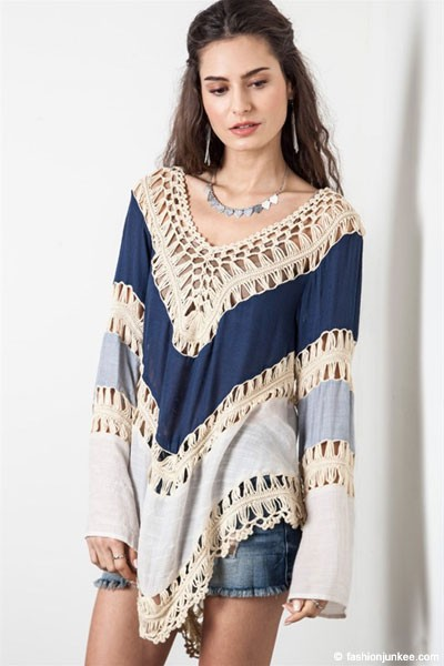 Ombre Multicolor Boho V-Neck Long Sleeve Crochet Tunic Top-Navy Blue