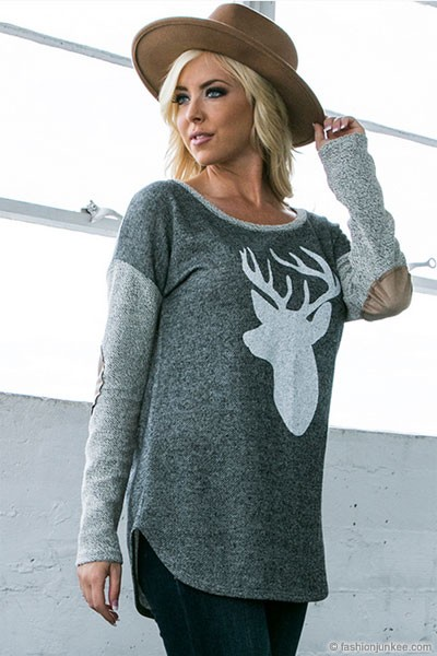 Long Sleeve French Terry Elbow Patch Deer Head Top-Dark Grey