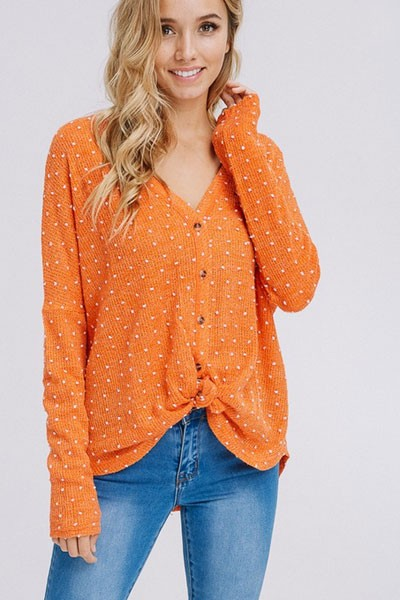 Polka Dot Long Sleeve Button Up Top with Front Knot-Rust Orange