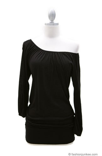 Elastic Rouched Jersey 3/4 Sleeve Off the Shoulder Top-Black