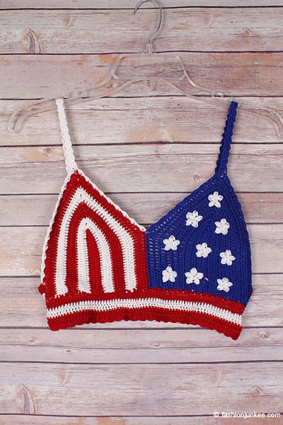 American Flag Boho Cropped Knit Crochet Festival Tank Top Bralette-Red, White & Blue (LIMITED TIME 50% OFF!)