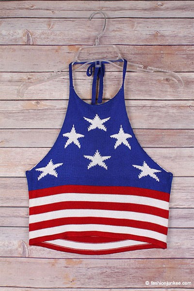 American Flag Boho Cropped Knit Crochet Festival Halter Tank Top-Red, White & Blue