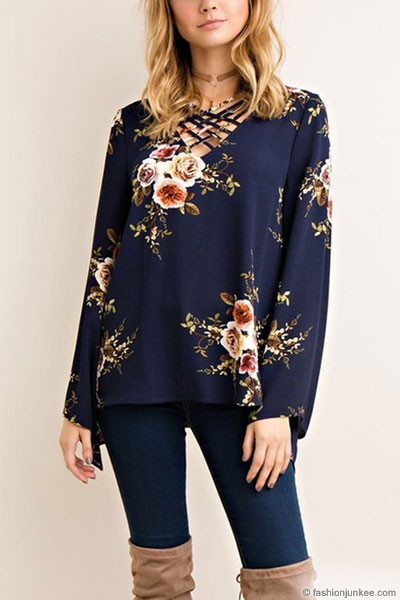 FLASH DEAL: Floral Criss Cross Strappy Bell Sleeve Top-Navy Blue