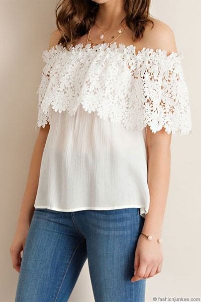 Lace Overlay Off the Shoulder Top-White